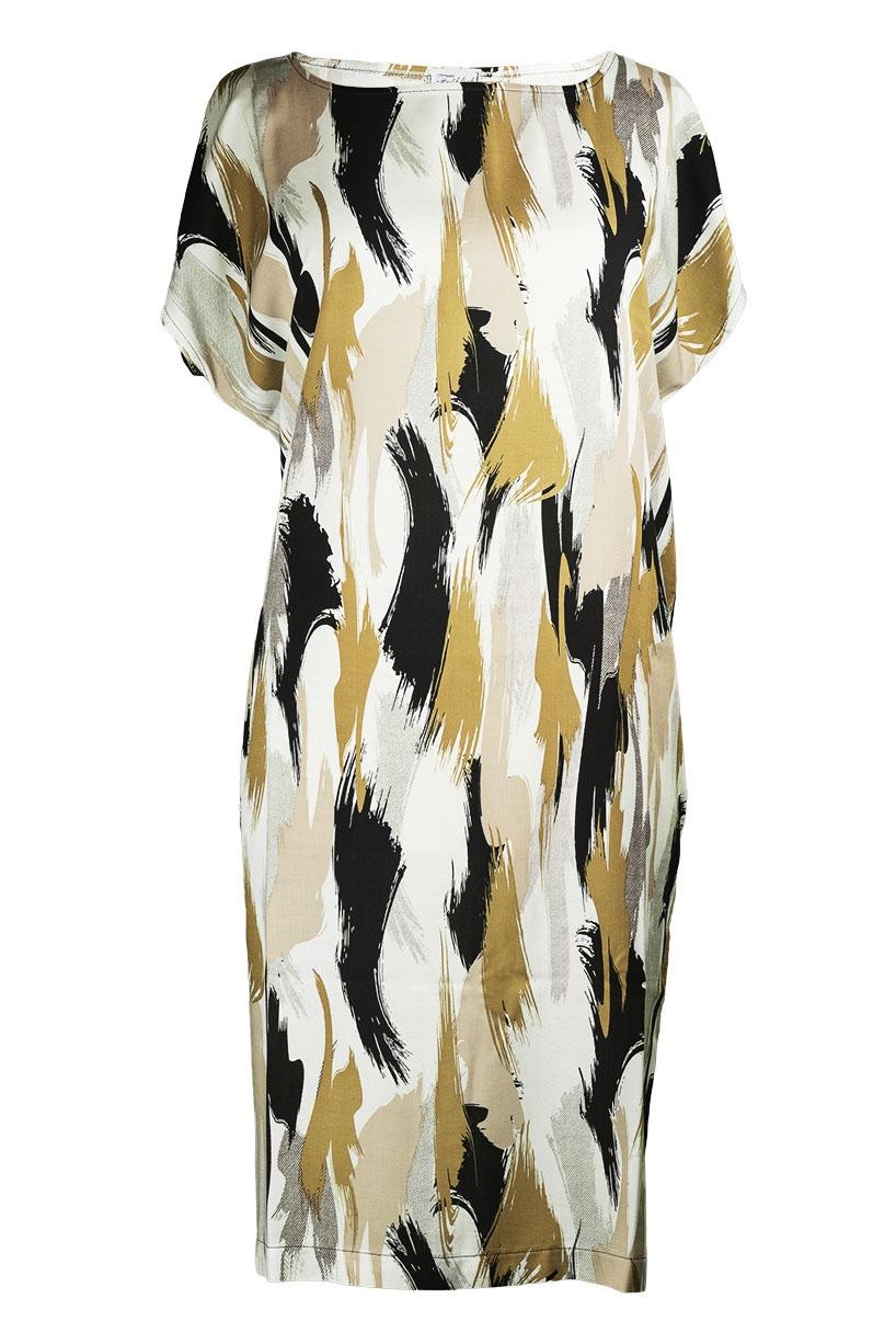 Kleid 5KA beige-weiss-grau-schwarz Vorderseite (c)dorisfroehlich