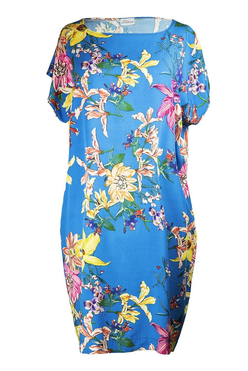 Kleid 5KA blauBlumenmuster Vorderseite2 (c)dorisfroehlich