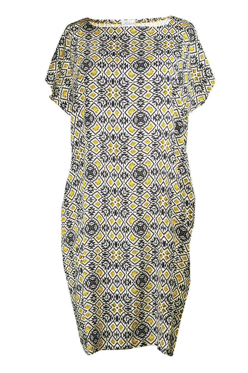 Kleid 5KA gelb-grau-Muster Vorderseite (c)dorisfroehlich