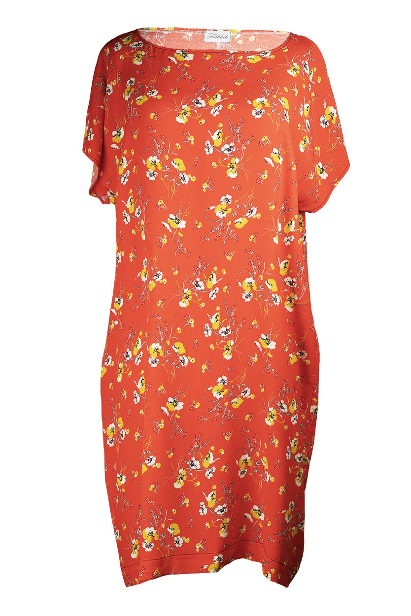 Kleid 5 KA  orange Blumenprint